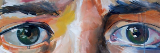 Close-up of a painting featuring a woman's eyes