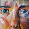 Colorful painting of a woman's face