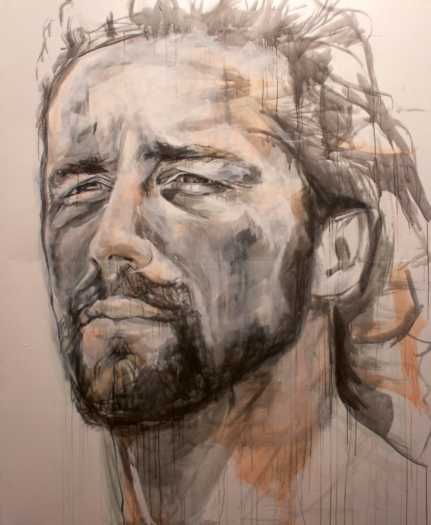 Drawing in ink of a man with long hair and a beard.