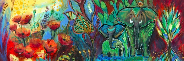 A colorful abstract painting of a sun, two elephants, and nature.