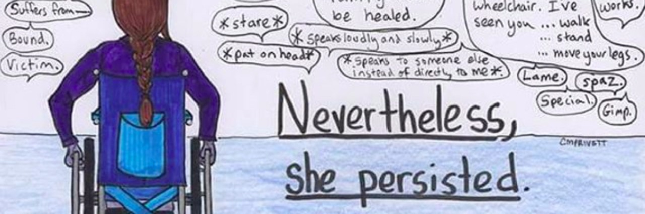 "Illustration of a woman in a wheelchair with the text ""nevertheless. she persisted."""