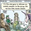 """A cartoon showing a meeting of mythical creatures, shows a mermaid gesturing to a vial, stating, """"I'd like to welcome our newest member to the group, the vaccine that causes autism."""""""