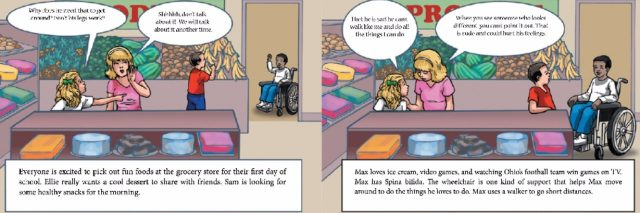 Cartoon of a woman and her daughter shopping the daughter points and asks why another child is in a wheelchair.