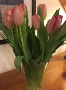Vase filled with fresh tulips