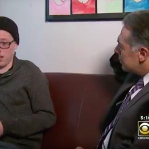 The author's son on the news