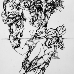 self portrait drawing called 'the contourshonist' that represents a muslim american woman with mental illness