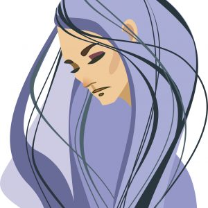 A illustration of a woman who looks sad