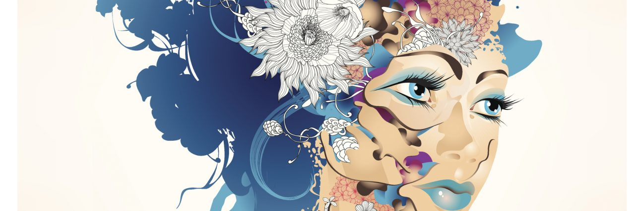 Surrealistic girl with flowers. Vector illustration