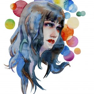 Abstract watercolor portrait of young woman with a long hair with a rainbow colored circles on background isolsted