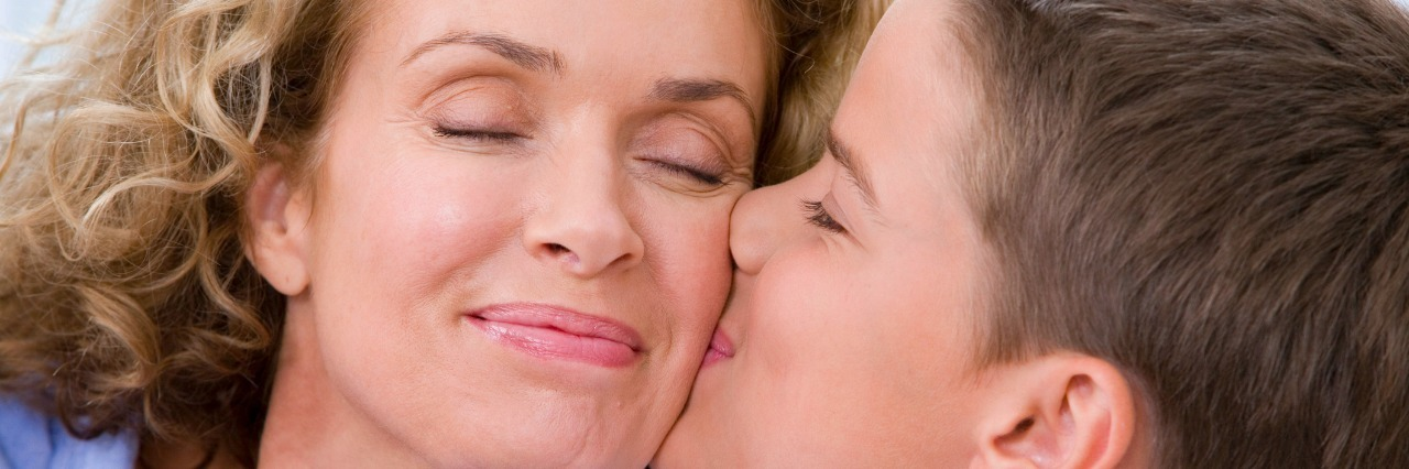 son kissing mom