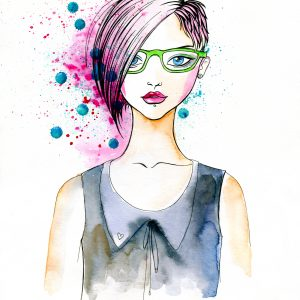 Stylish Illustration of a Girl with Fashionable Hairstyle.