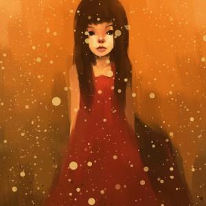 Girl in red dress in the rain.