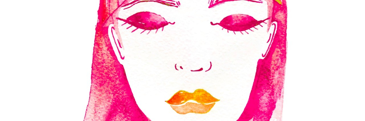 beautiful girl, her eyes closed. vector watercolor fashion illustration