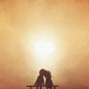 digital painting of love couple on bench watching heart shaped sunset, watercolor on paper texture