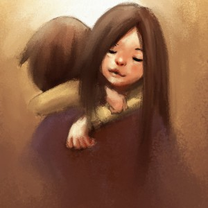 digital painting of love couple hugging, watercolor on paper texture
