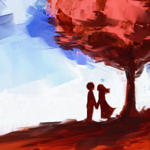Illustration of couple holding hands in front of red tree, with blue sky in the background