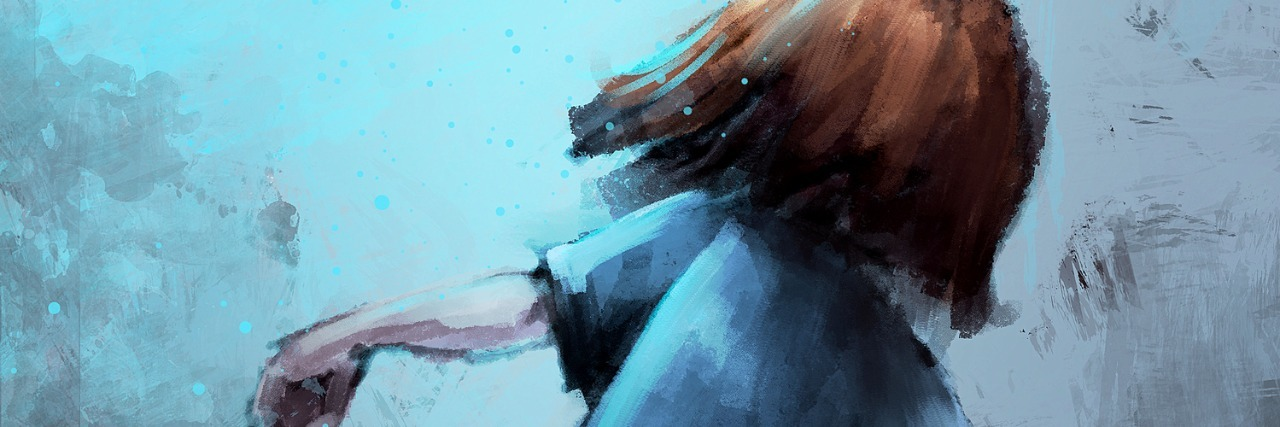 digital painting of girl walking in the mist
