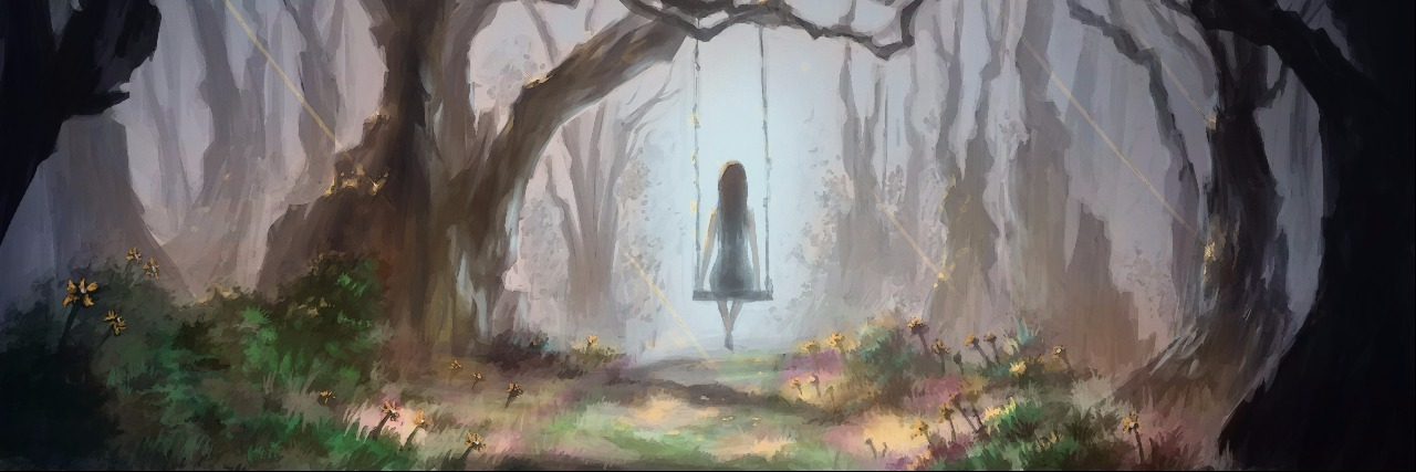 woman sitting alone in forest, on a swing.