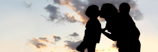 silhouette of mother and two children in a field during sunset