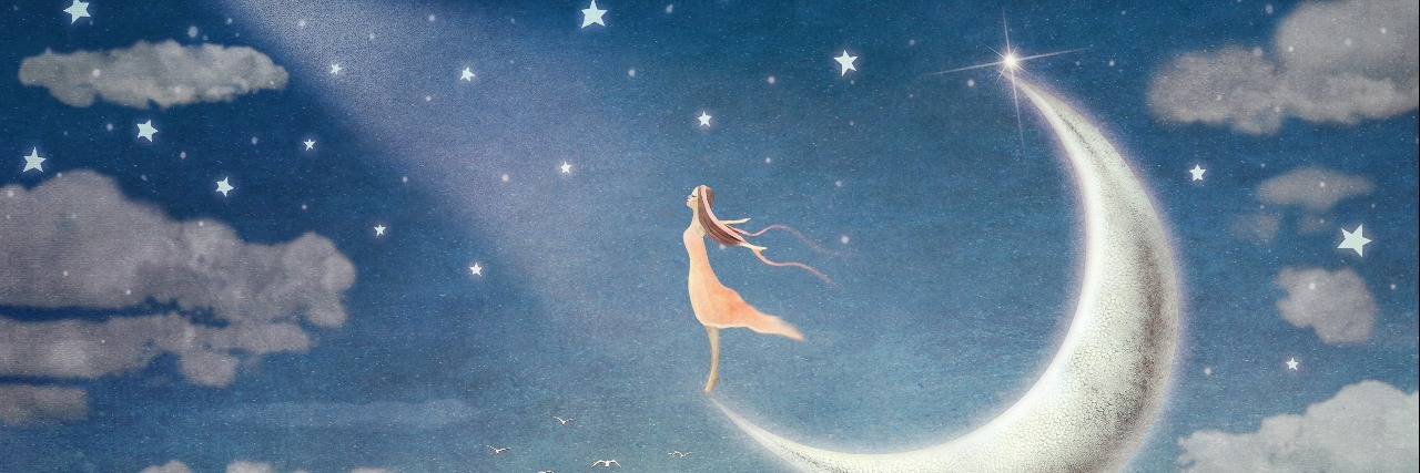 illustration of girl standing on the moon and looking at the stars