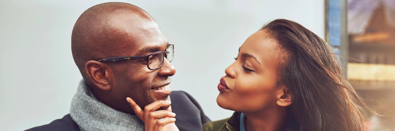 woman and man flirting