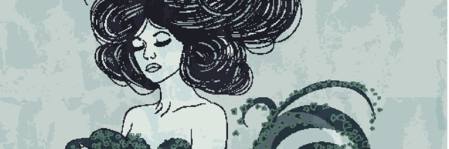 Mermaid illustration with long flowing hair. This is an eps10 file with transparency.
