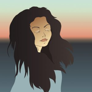 Illustration of a woman standing in front of a sunset with her eyes closed