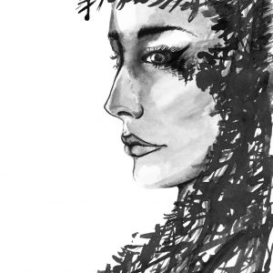 Character monochrome women with abstract black ink hair.