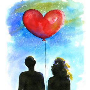 illustration of a couple holding a balloon
