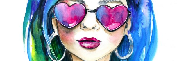 Watercolor fashion lady in sunglasses.