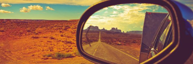 Travel Trailer Road Trip in Arizona. Looking Back and Saying Good Bye to the Famous Monuments Valley.