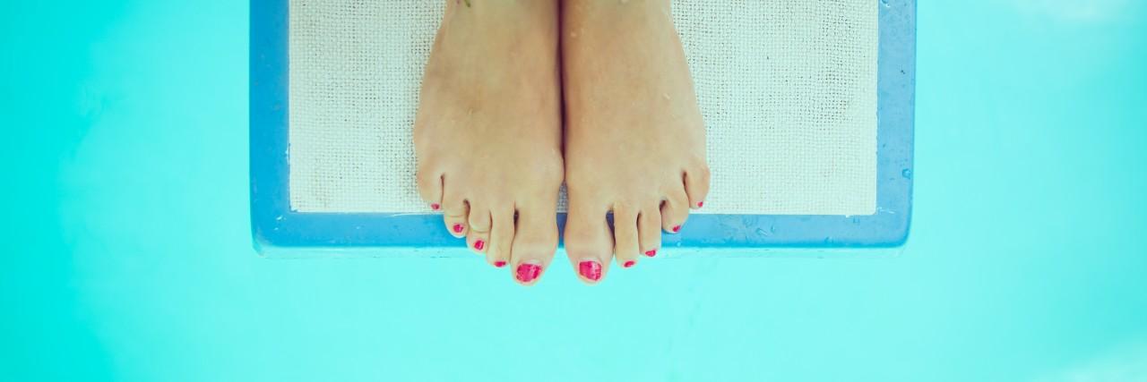 feet on the springboard