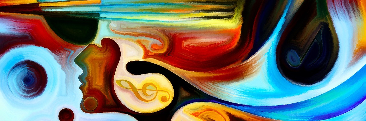 Inner Melody series. Abstract design made of colorful human and musical shapes on the subject of spirituality of music and performing arts