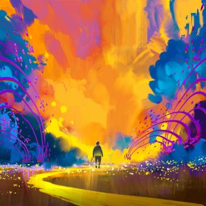man walking to abstract colorful landscape,illustration painting