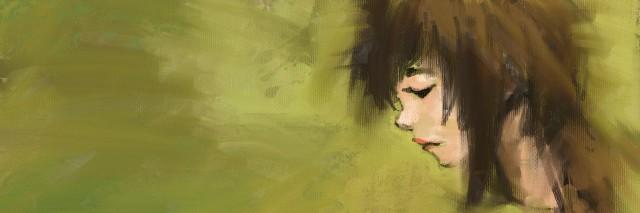 Acrylic on canvas of beautiful girl, Digital painting, Acrylic on canvas painting style.