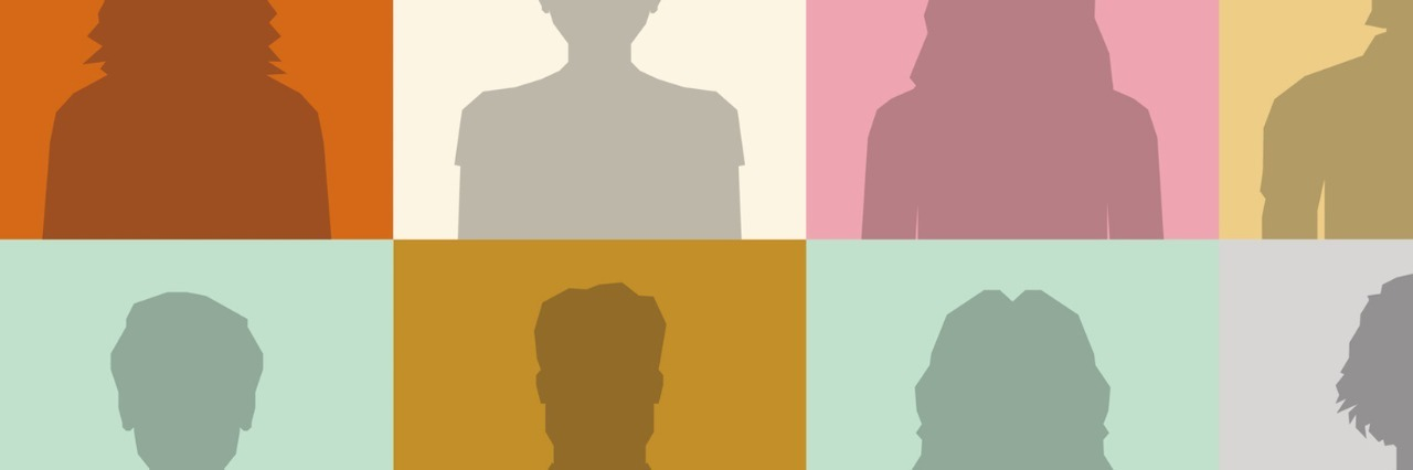 Silhouettes of people in squares