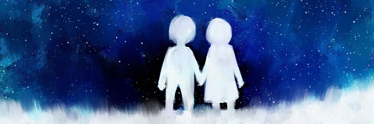 digital painting of young couple in love holding hands in night sky, acrylic sketched on canvas texture