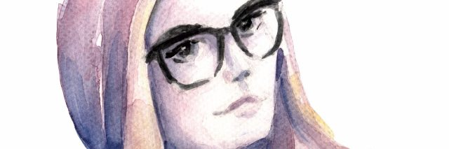 Water color of girl with beanie and glasses on.