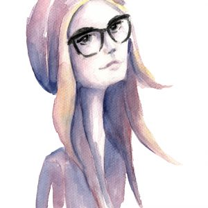 Colorful watercolor painting of the hipster girl with glasses