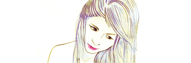 Drawing of a woman deep in thought.