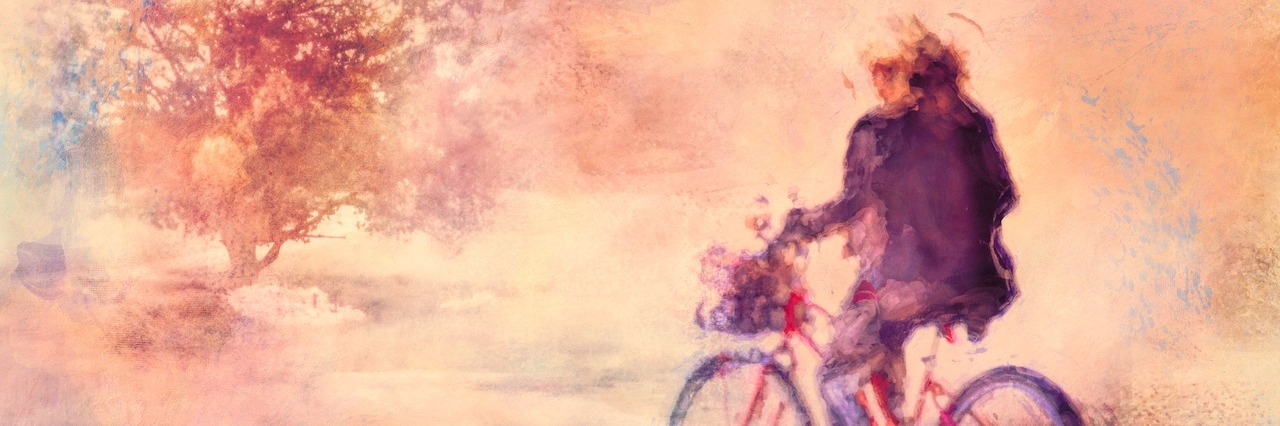 A woman riding her bike