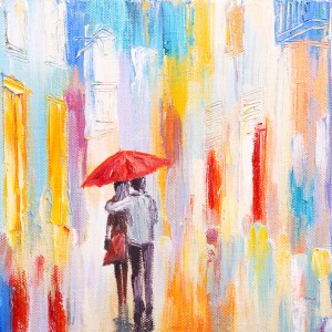 painting of couple walking under an umbrella