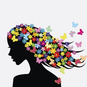 Beautiful woman profile silhouettes with flowers