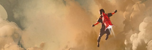 illustration of boy in cloudy sky with a red rocket jet pack