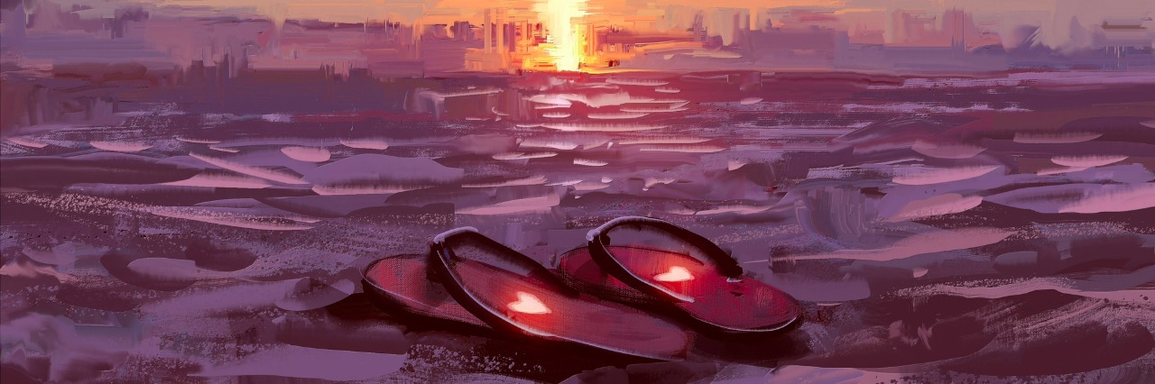 flip flops with lovely hearts on the beach at sunset ,digital painting,illustration