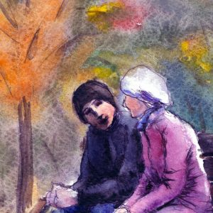 Illustration of man and woman sitting together on bench in park with autumn trees in the background