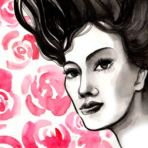 Watercolor sketch of a beautiful woman face and roses