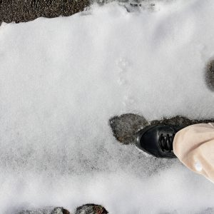 Slipping on ice.