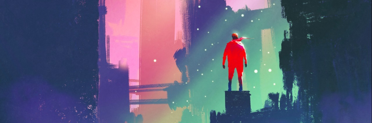 night scenery with red man standing on abandoned city,illustration painting