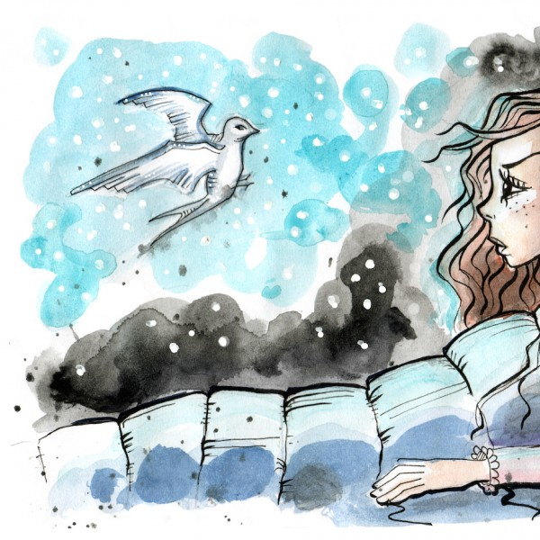 A woman sitting in bed, looking at a bird